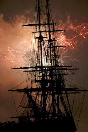 4th of July, Salem MA, the Friendship with fireworks