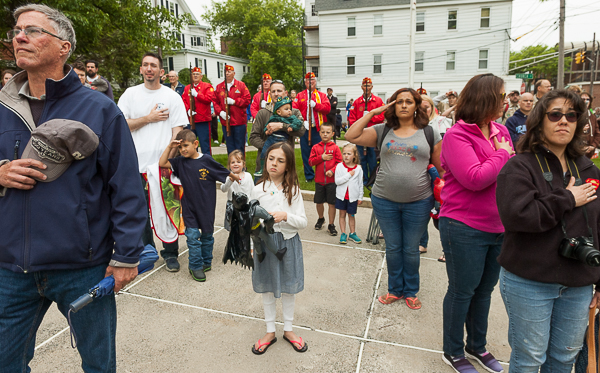 Peabody citizens salute during Memorial Day activity at City Hall