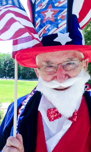 "Elderly man as ""Uncle Sam"""
