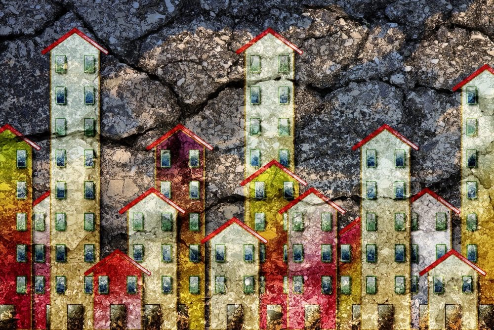 Colorful, semi-abstract depiction of apartment buildings